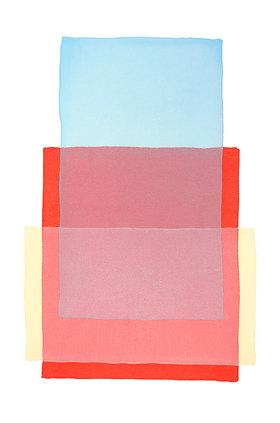 Werner Maier: Abstraktes Aquarell Blau Rot Gelb Original