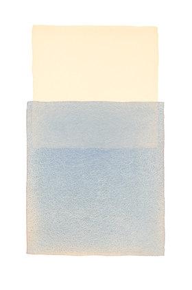 Werner Maier: Abstraktes Aquarell Beige Blau 2 - Original