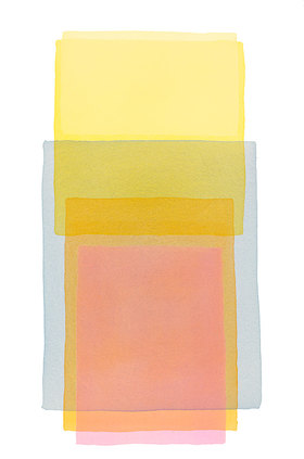 Werner Maier: Abstraktes Aquarell  Gelb Blau Rosa 2 - Original