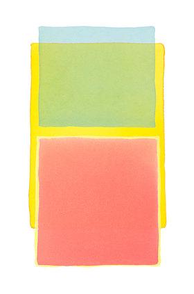 Werner Maier: Abstraktes Aquarell  Blau Gelb Rot - Original