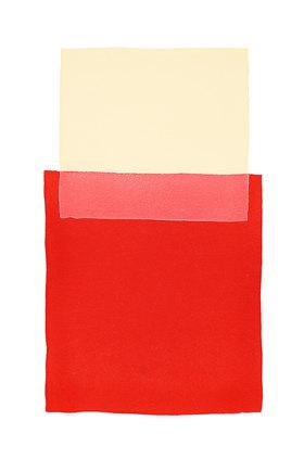 Werner Maier: Abstraktes Aquarell Beige Rot - Original