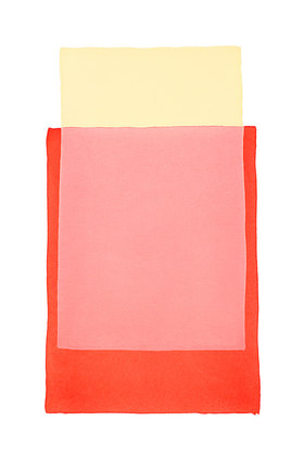 Werner Maier: Abstraktes Aquarell  Rot Gelb II - Original