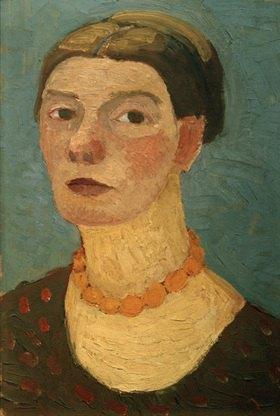 Paula Modersohn-Becker: Self-portrait before blue background