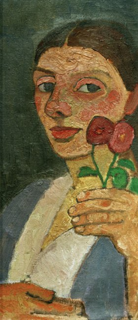Paula Modersohn-Becker: Selbstbildnis mit zwei Blumen in der erhobenen linken Hand
