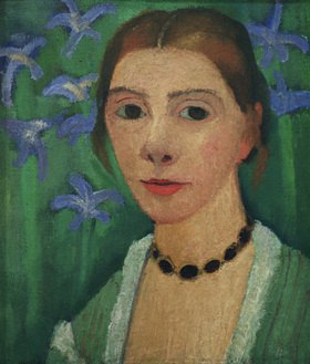 Paula Modersohn-Becker: Self-portrait before green background with blue irises