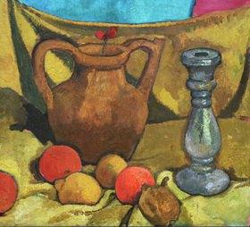 Otto Modersohn: Stilleben mit Krug, Leuchter und Früchten