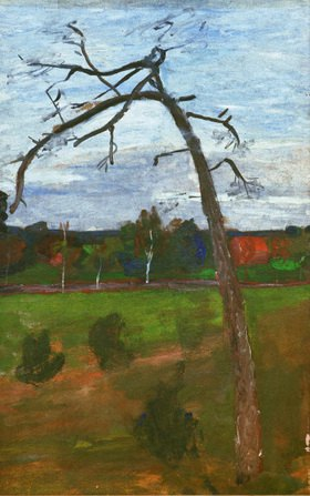 Paula Modersohn-Becker: Kahler Baum vor Landschaft