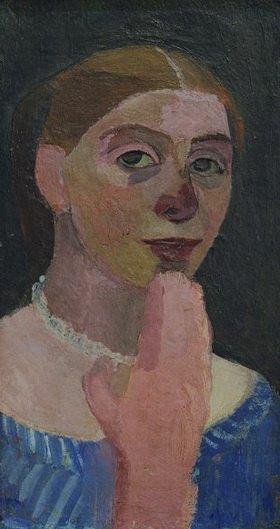 Paula Modersohn-Becker: Selbstbildnis mit blauem, weißgestreiftem Kleid