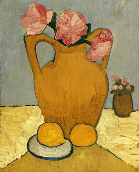 Paula Modersohn-Becker: Still life with oranges, jar and peonies