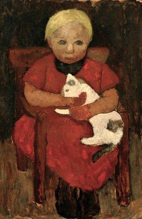 Paula Modersohn-Becker: Sitzendes Bauernkind mit Katze