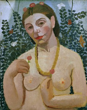Paula Modersohn-Becker: Self portrait with nude torso and amber necklace, II