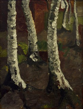 Paula Modersohn-Becker: Birch trunks before red farm