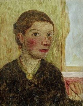 Paula Modersohn-Becker: Autoportrait avec pinceau dans une main levée, c