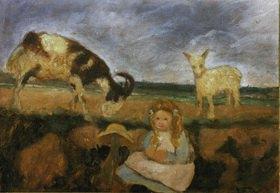 Paula Modersohn-Becker: Elsbeth mit Ziegen