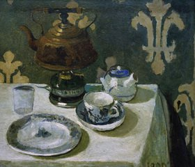 Paula Modersohn-Becker: Still life with blue-white porcelain and tea pot