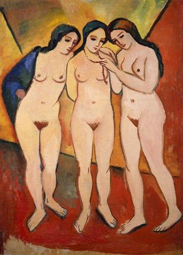 kunstdrucke kunststile epochen expressionismus drei nackte maedchen orange august macke